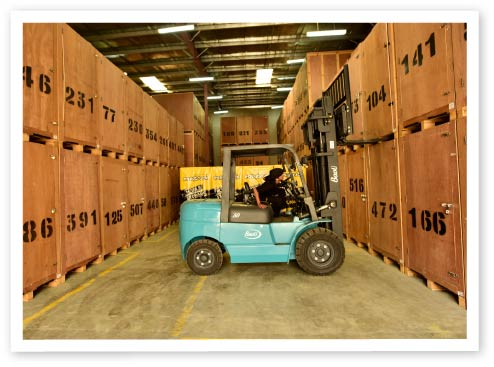 forklift inside warehouse